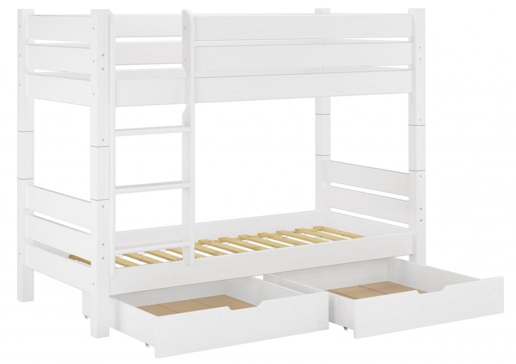 Etagenbett 3 Personen Metall : Massivholz etagenbett weiß 90x200 nische 80cm teilbar rollrost
