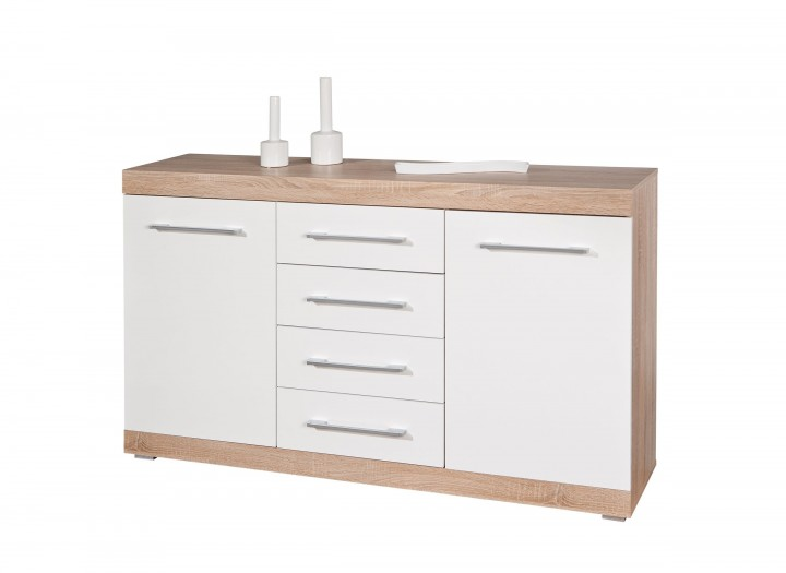 Kommode Lublin 4 Sideboard Highboard Weisse Hochglanzfront In Sonoma