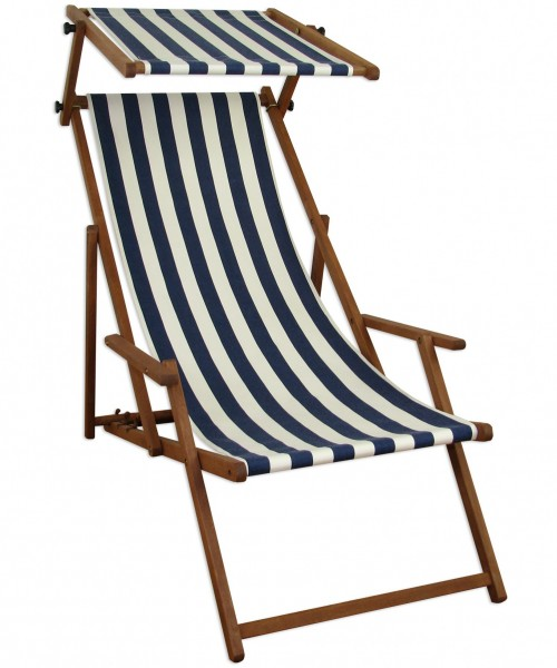 liegestuhl blau wei gartenstuhl deckchair buche strandstuhl sonnendach sonnenliege 10 317 s. Black Bedroom Furniture Sets. Home Design Ideas