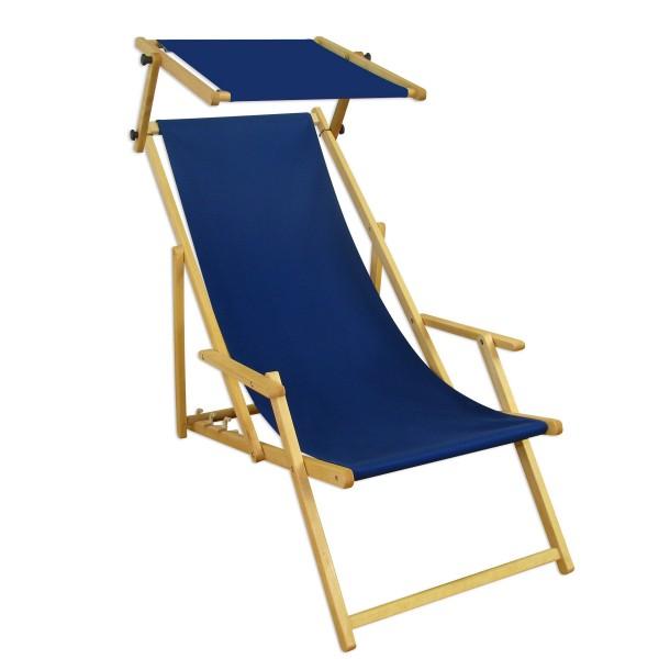 Liegestuhl Blau Gartenliege Sonnenliege Sonnendach Strandstuhl Buche