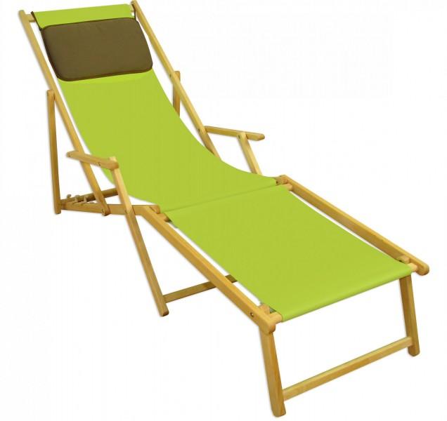 Liegestuhl Pistazie Fußablage Kissen Deckchair Klappbar Sonnenliege Holz  Gartenliege 10 306 N F KD | Erst Holz ®