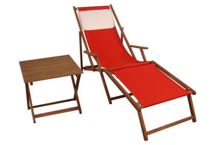 liegestuhl rot fu ablage tisch kissen deckchair holz sonnenliege gartenliege buche 10 308 f t kh. Black Bedroom Furniture Sets. Home Design Ideas