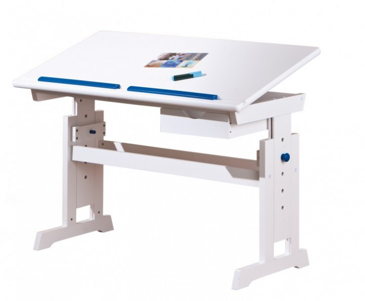90.74-05 W Schreibtisch Massivholz weiß für Kinder höhenverstellbar