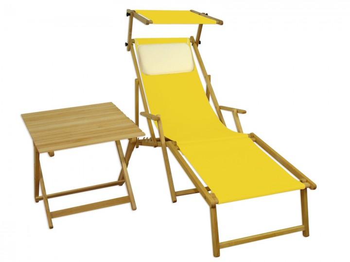 Liegestuhl gelb Fußteil Sonnendach Kissen Tisch Gartenliege Holz  Sonnenliege Buche 10-302NFSTKH