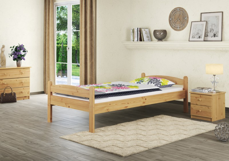 einzelbett massivholz 90x200 jugenbett kiefer natur bettgestell ohne rollrost or erst. Black Bedroom Furniture Sets. Home Design Ideas