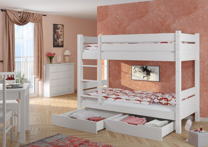 kiefer stockbett wei 100x200 etagenbett hochbett teilbar rollrost bettkasten w t80 s2. Black Bedroom Furniture Sets. Home Design Ideas