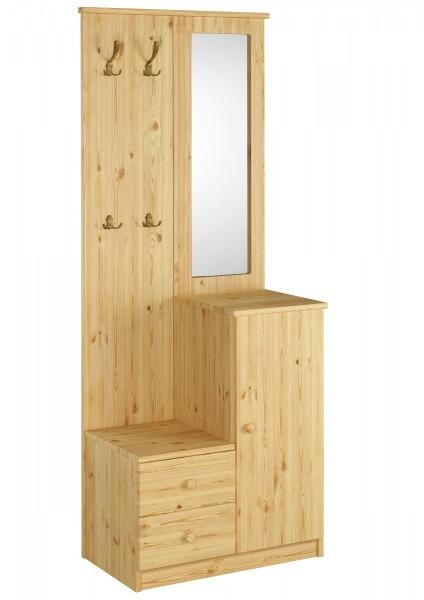 garderobe mit spiegel kiefer massiv flurm bel dielenschrank erst holz. Black Bedroom Furniture Sets. Home Design Ideas