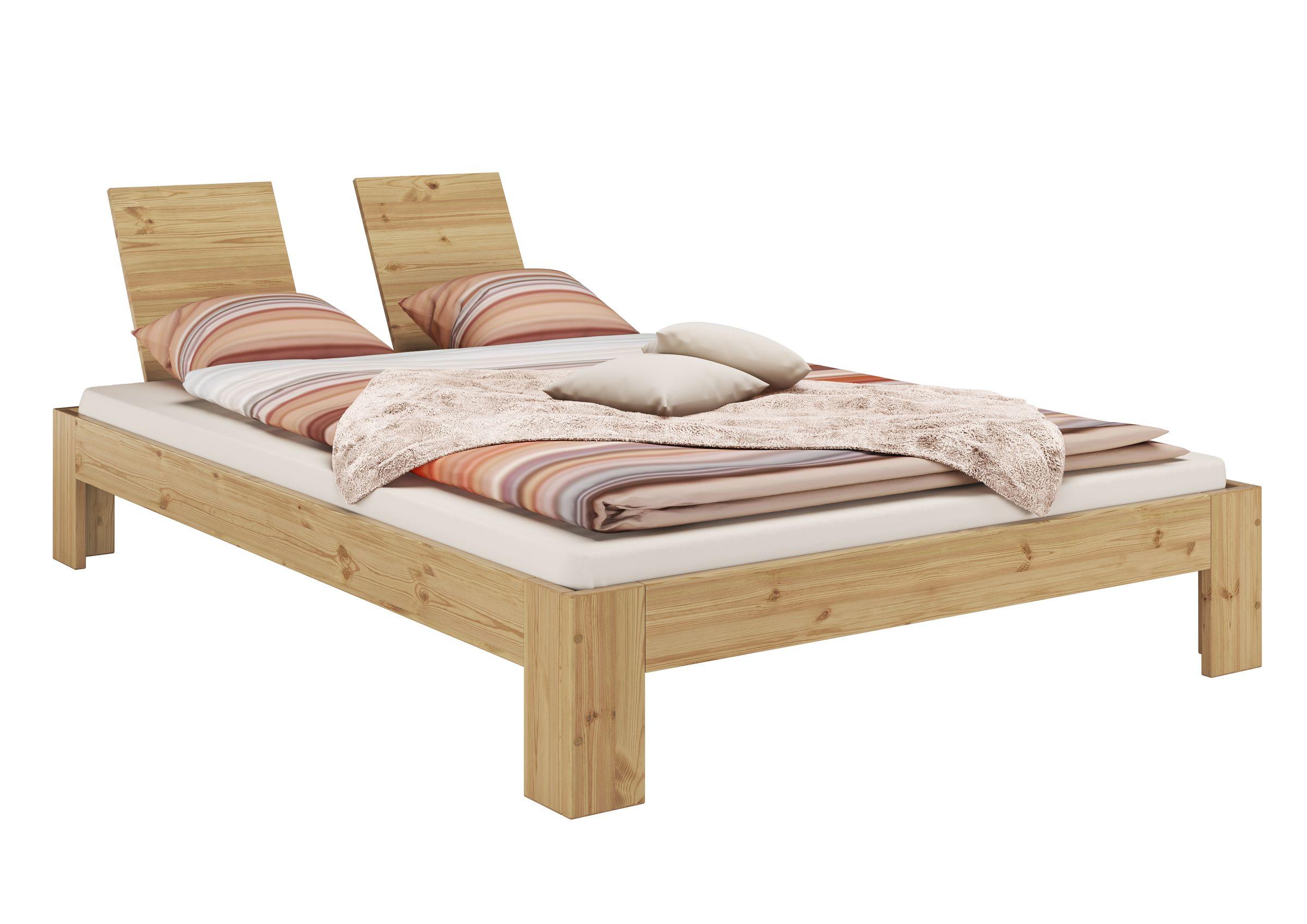Französisches Bett 140x200 Kiefer Massivholz Natur