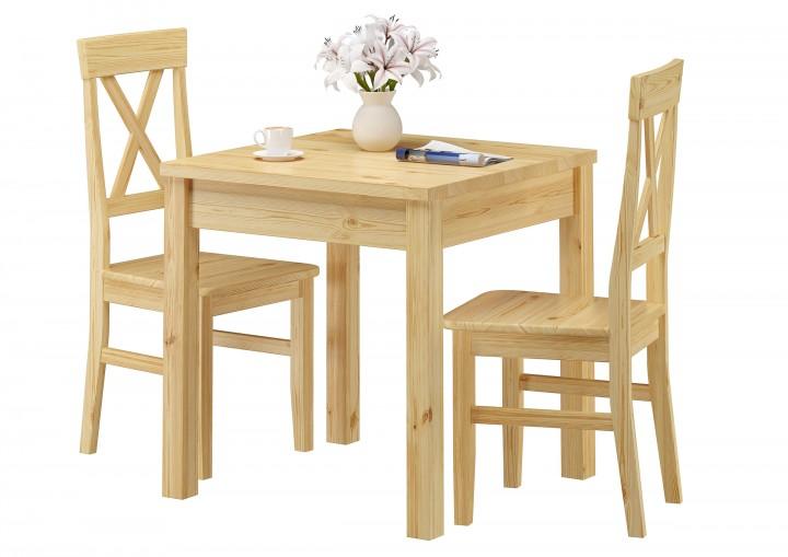 Massivholz-Essgruppe mit Tisch und 2 Stühle Kiefer 90.70-50 B -Set 23