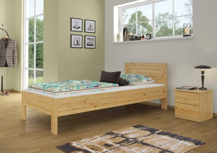 einzelbett hotelbett g stebett 90x200 kieferbett massivholz natur rollrost matratze m. Black Bedroom Furniture Sets. Home Design Ideas