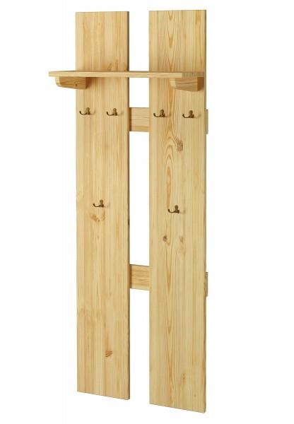 Breite Wand-Garderobe Kiefer massiv als Flurgarderobe oder Kleiderhaken mit  Hutablage 90.80-10