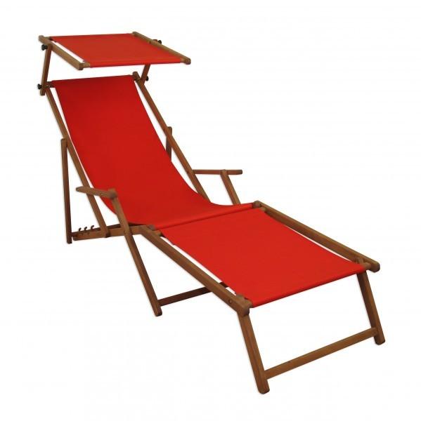 Liegestuhl Holz Mit Fußteil.Sonnenliege Rot Liegestuhl Fußteil Sonnendach Gartenliege Holz Deckchair Gartenmöbel 10 308fs