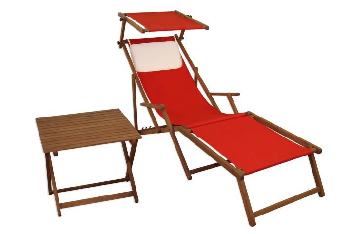 Liegestuhl rot Fußteil Sonnendach Kissen Tisch Gartenliege Holz Sonnenliege  Buche 10-308FSTKH