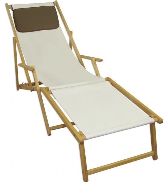 Liegestuhl Weiss Fussablage U Kissen Deckchair Klappbar Sonnenliege