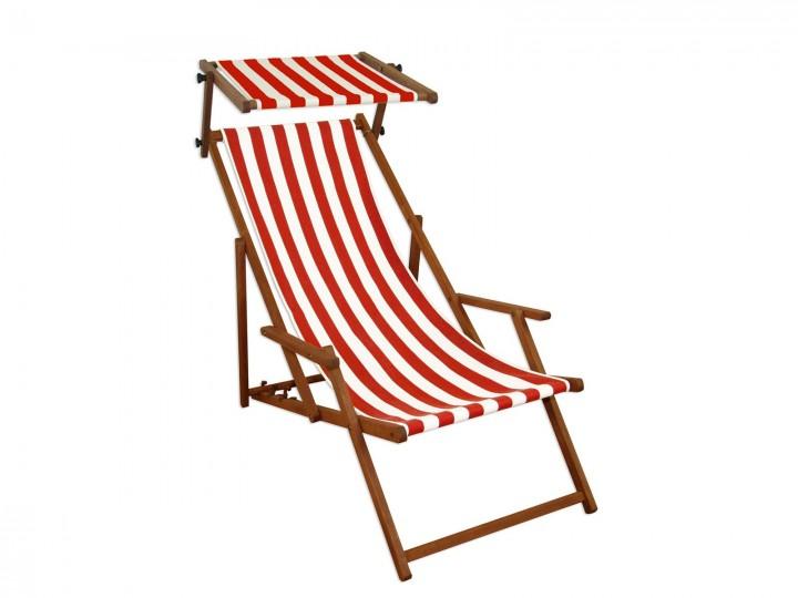 Gartenliege Rot Weiß Strandliege Sonnenliege Holz Relaxliege Sonnendach  Strandstuhl 10 314 S | Erst Holz ®