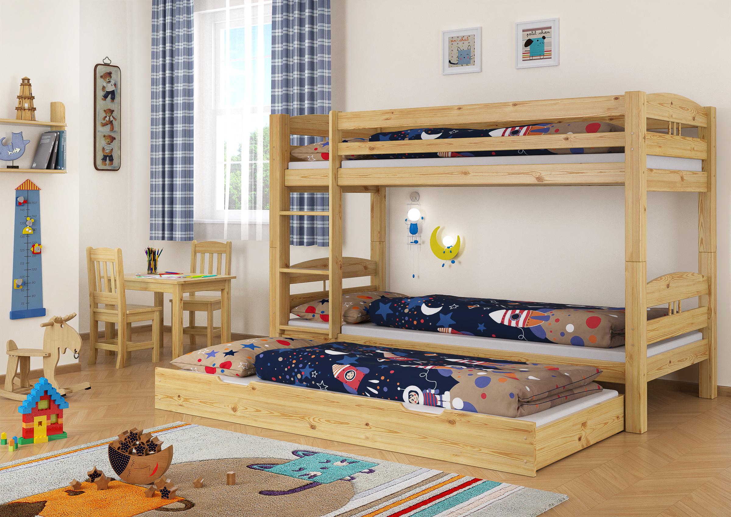 kinderzimmer etagenbett kiefer 90x200 bett stockbett rollroste g stebettkasten m s7m. Black Bedroom Furniture Sets. Home Design Ideas