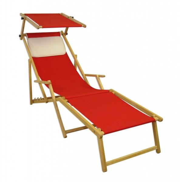 Sonnenliege Rot Gartenliege Fußteil Sonnendach Kissen Buche Hell Klappbar  10 308 N F S KH | Erst Holz ®