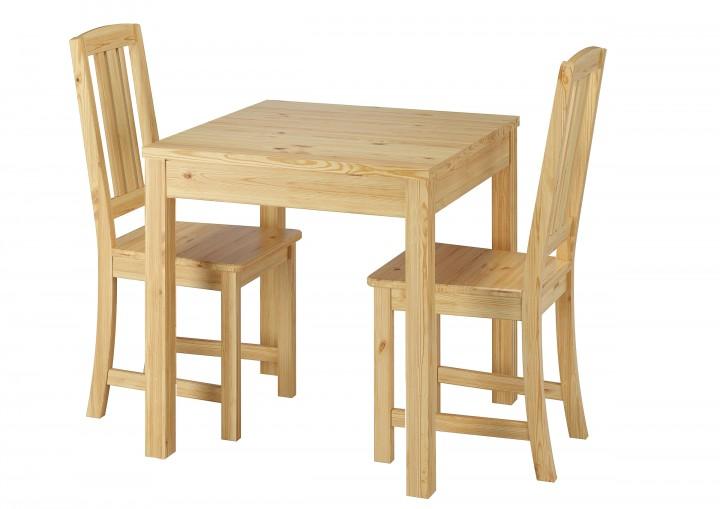 Stilvolle kleine Essgruppe mit Tisch und 2 Stühle Kiefer natur ...