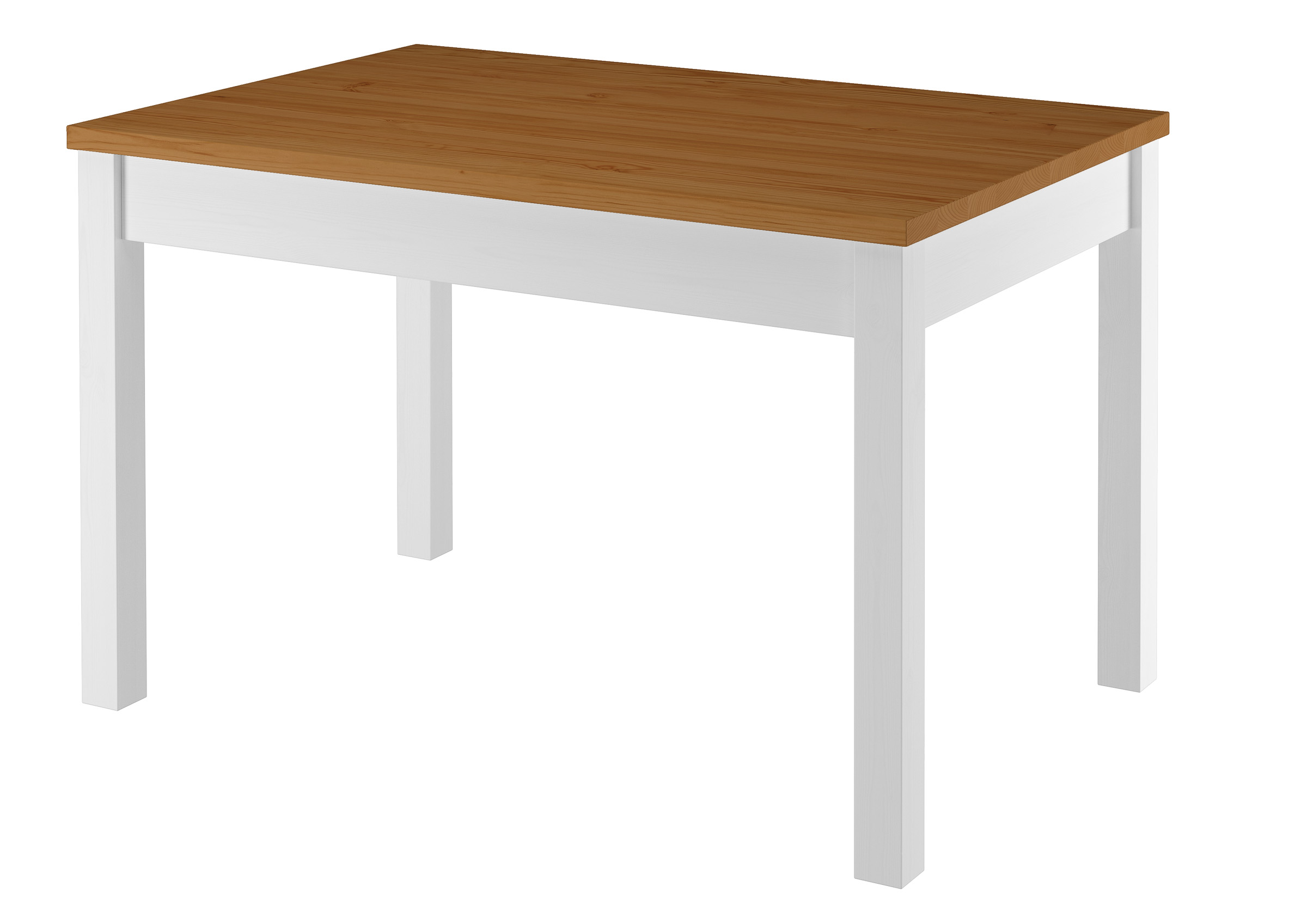 Zweifarbiger Tisch 80x120 Esstisch Tischplatte Eichefarben Weisse Beine Massivholz 90 70 51 Ae Tische Tische Stuhle Mobel Erst Holz