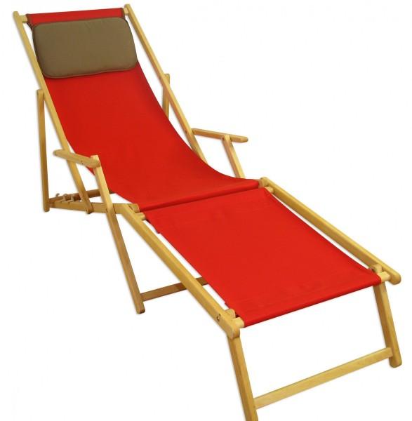 Liegestuhl rot Fußablage Kissen Deckchair klappbar Sonnenliege Holz ...