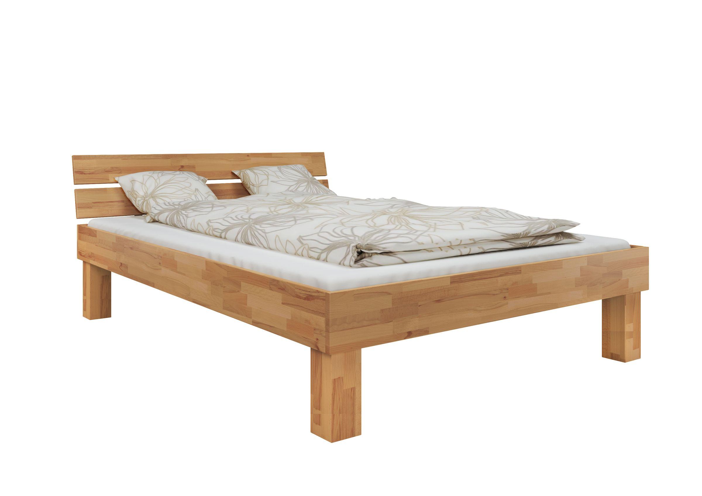 Doppelbett Buche 140x200 hohes Massivholzbett Seniorenbett inkl ...