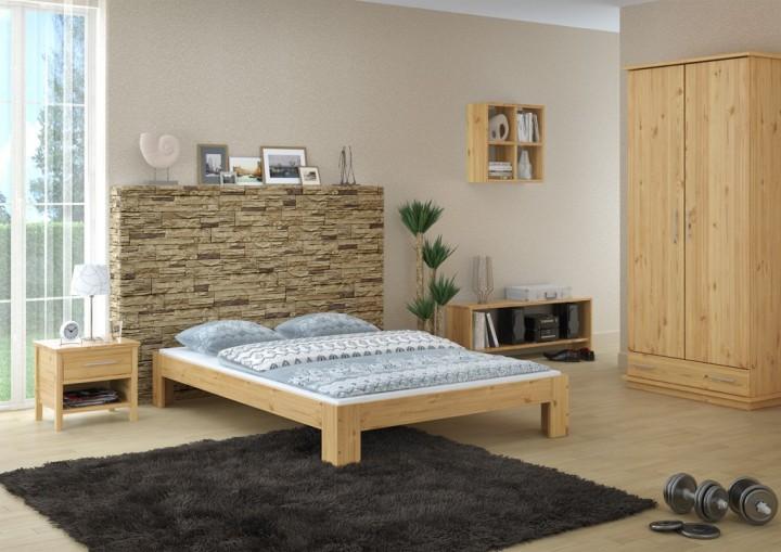 Französisches Bett 140 x 200 cm Kiefer massiv mit Rollrost 60.67-14 ...
