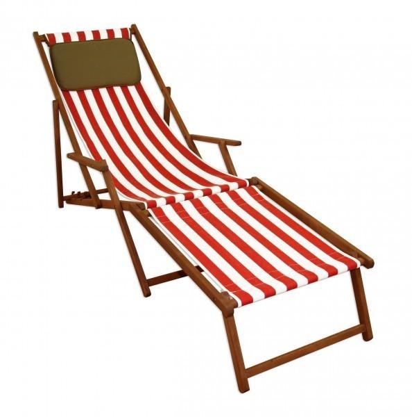 Liegestuhl Rot Weiß Gartenliege Sonnenliege Deckchair Buche Fußteil Kissen Klappbar 10 314fkd