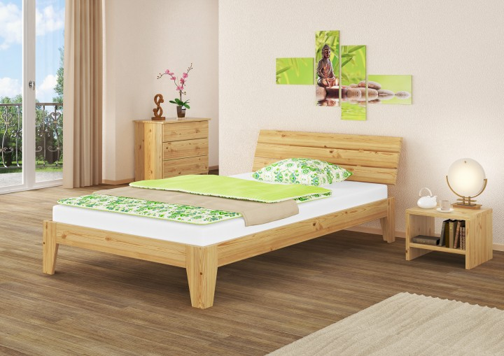 doppelbett futonbett 140x200 massivholzbett kiefer natur rollrost matratze m erst holz. Black Bedroom Furniture Sets. Home Design Ideas