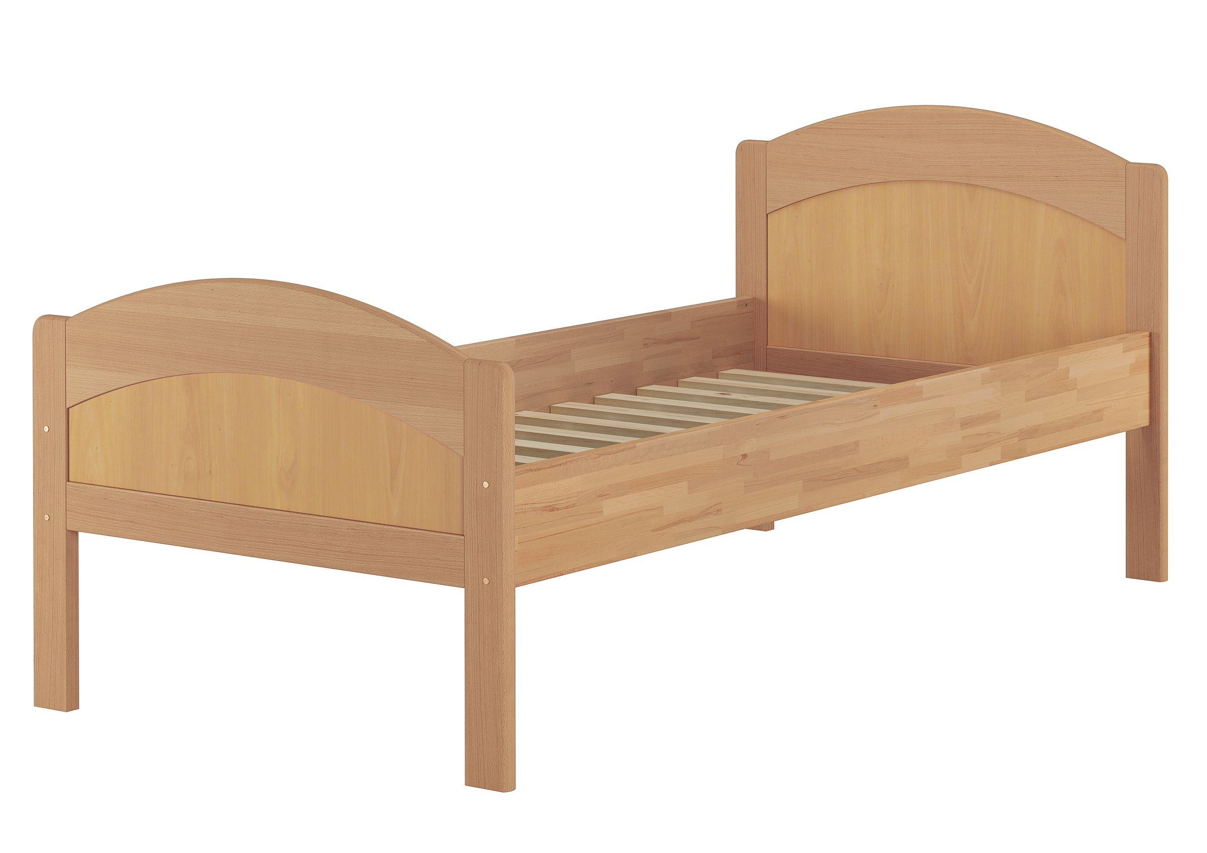 Erst-Holz/® Wei/ßes Seniorenbett Massivholzbett 90x200 extra hoch mit Rollrost Matratze 60.40-09WFLM