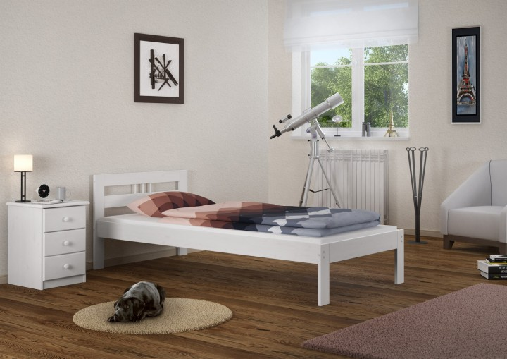 massivholzbett kiefer wei einzelbett 100x200 jugendbett futonbett g stebett matratze w. Black Bedroom Furniture Sets. Home Design Ideas