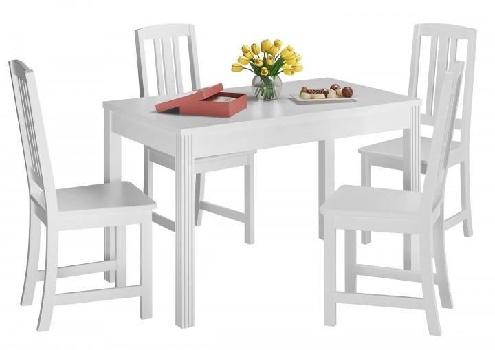 schone essgruppe mit tisch und 4 stuhle kiefer massivholz waschweiss 90 70 51 c w set 22 erst holz
