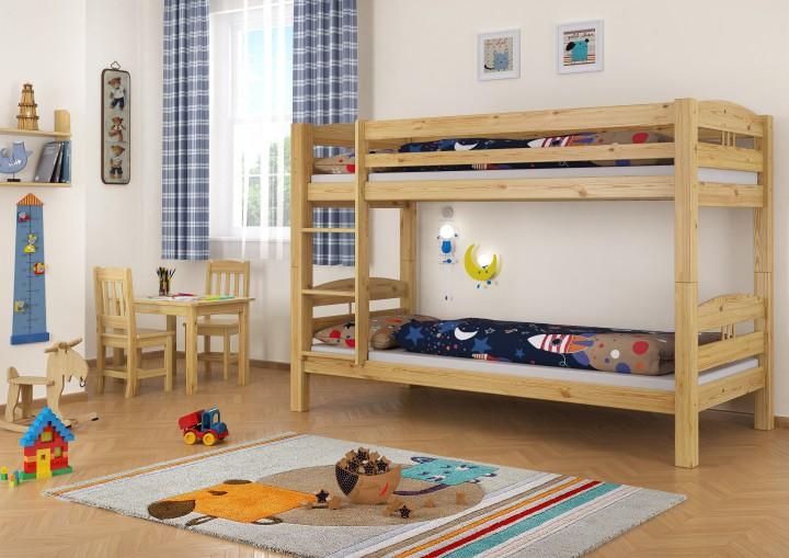 Etagenbetten Kinderzimmer : Stockbett etagenbett kiefer 90x200 massives hochbett f. kinderzimmer