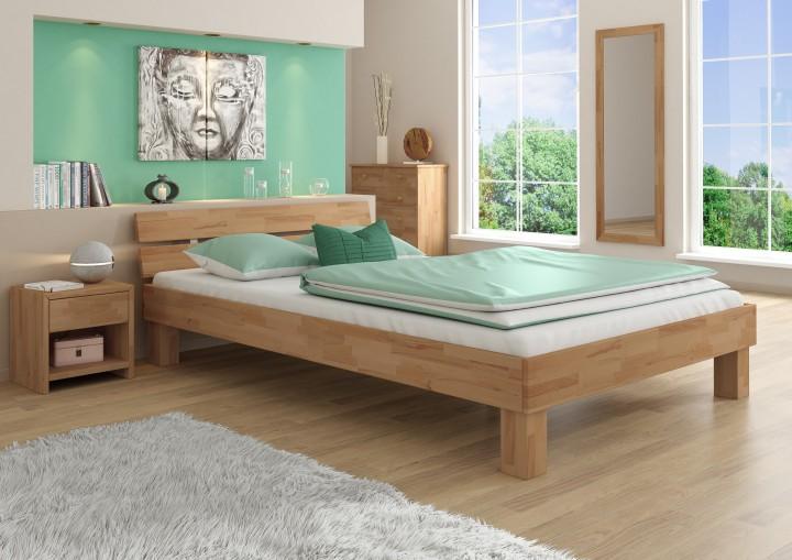 72843770cb Massivholzbett Futonbett Doppelbett mit Überlänge 140x220 Ehebett Buche  natur 60.86-14-220 oR | Erst-Holz ®