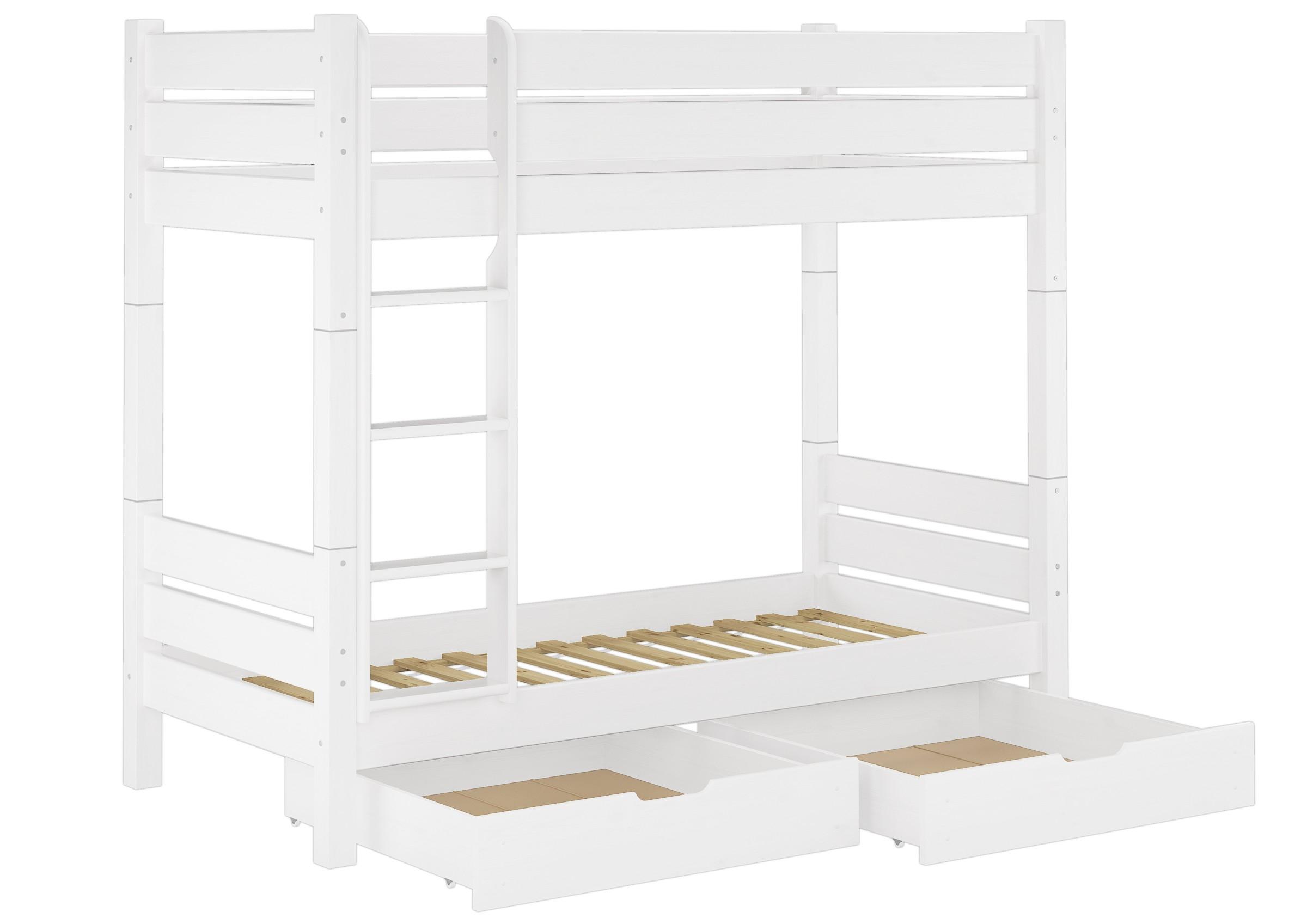 Etagenbett Erwachsene 100x200 : Etagenbett für erwachsene kiefer weiß 100x200 teilbar 2 rollroste