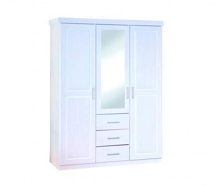 kleiderschrank geraldo mit spiegel 3 turig wascheschrank massivholz kiefer weiss 99 20900930 erst holz