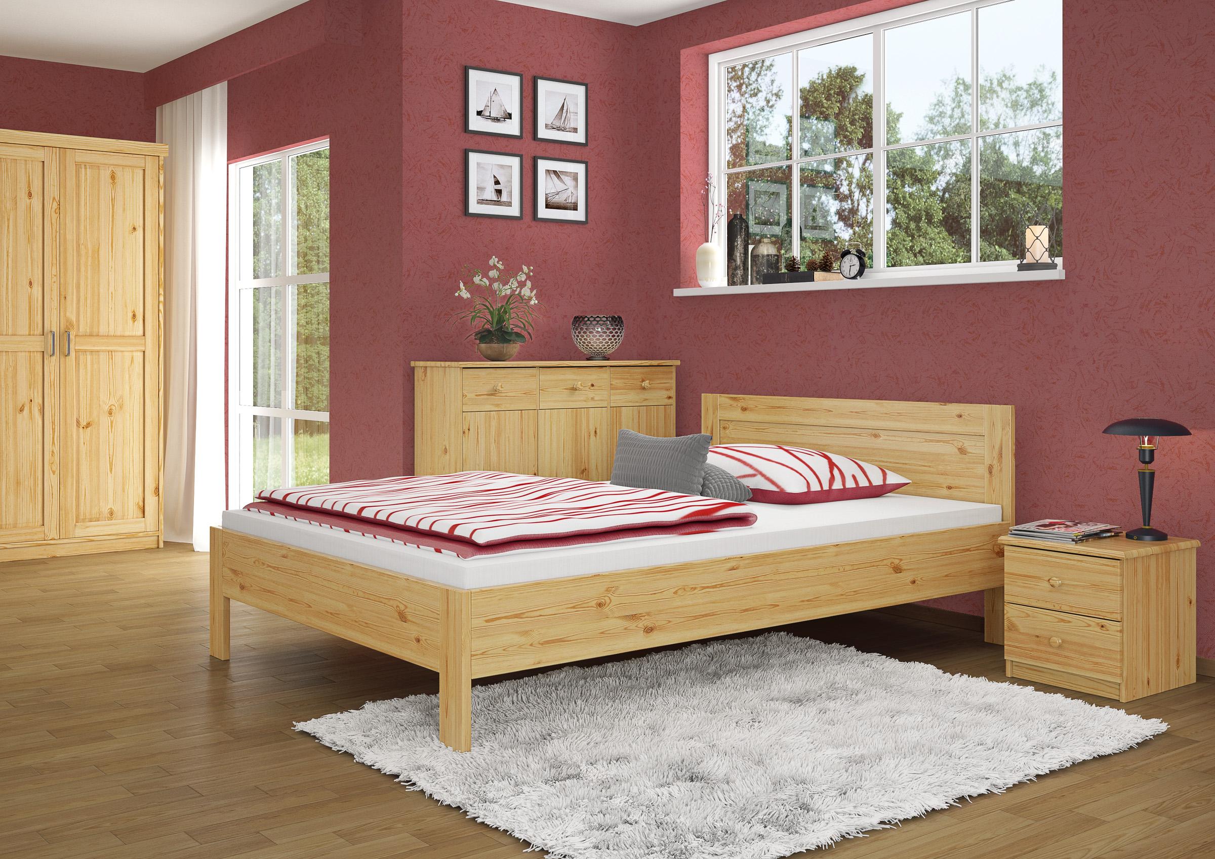 Französisches Bett 140x200 Doppelbett Futonbett Kiefer Massiv