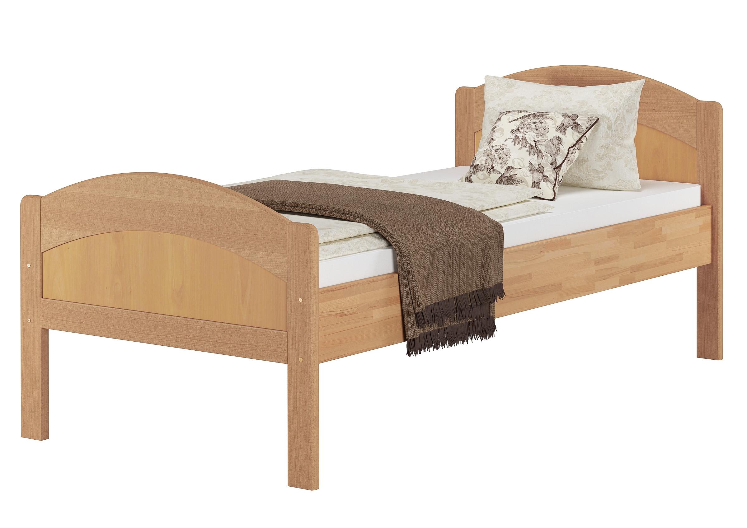 Erst-Holz/® Massivholzbett geschwungenes Seniorenbett Buche Natur 90x200 Einzelbett Bettgestell 60.75-09