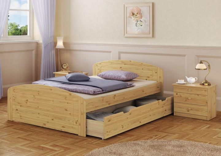 funktionsbett doppelbett 3 bettkasten federholzrahmen 140x200 seniorenbett kiefer. Black Bedroom Furniture Sets. Home Design Ideas