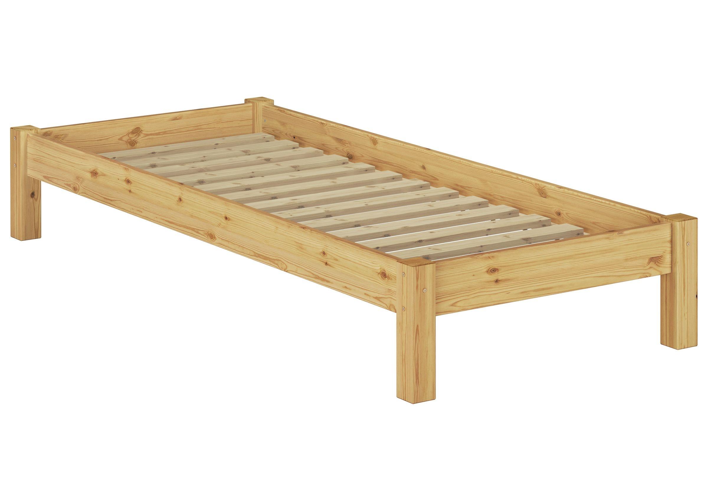 Letto classico 90x200 in Pino massello Eco laccato con assi di legno 60.37-09