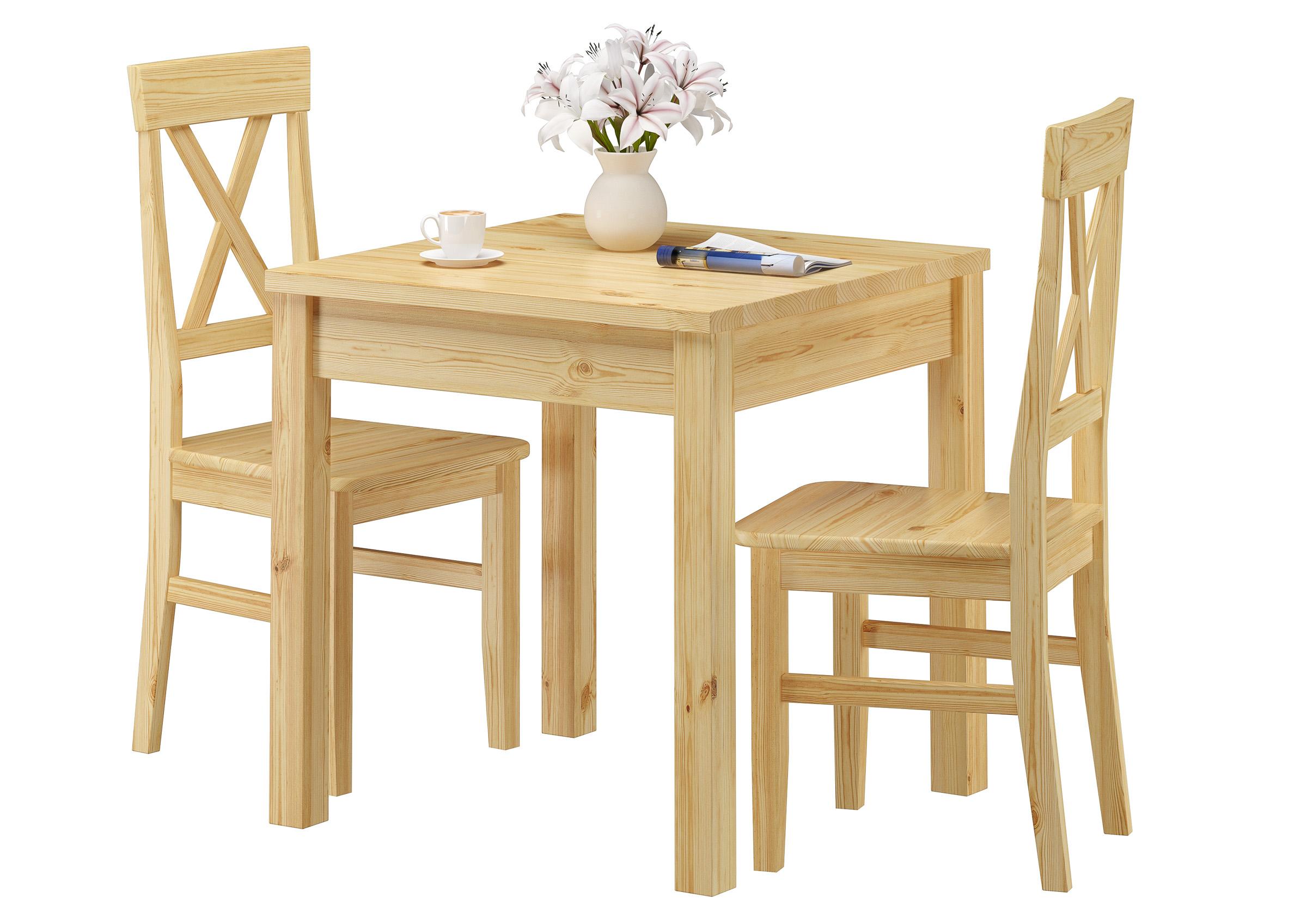Massivholz Essgruppe Mit Tisch Und 2 Stühle Kiefer 90 70