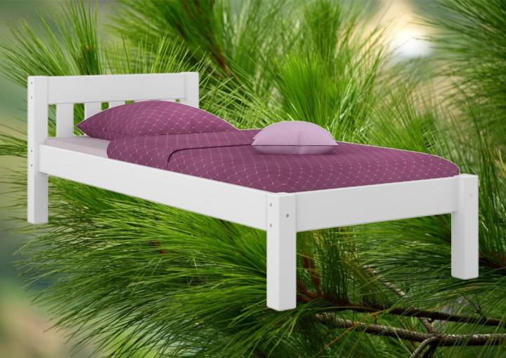 Modernes einzelbett massivholzbett kiefer wei 90x200 for Moderne einzelbetten