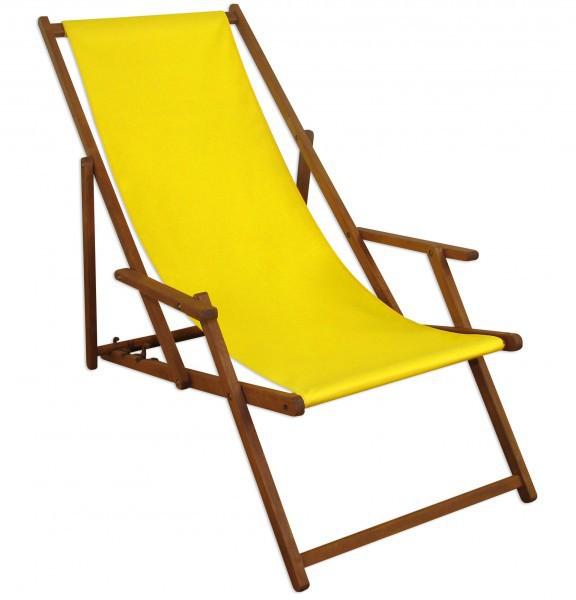 liegestuhl gelb fu ablage u kissen deckchair klappbar sonnenliege holz gartenliege 10 302 f kh. Black Bedroom Furniture Sets. Home Design Ideas