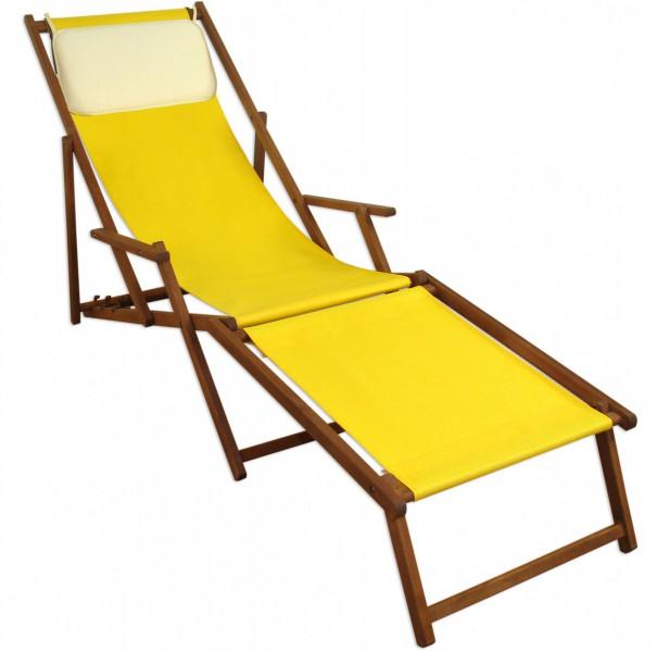 liegestuhl gelb fußablage u kissen deckchair klappbar sonnenliege, Garten und erstellen