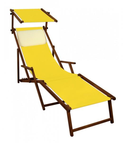 sonnenliege gelb liegestuhl fu teil sonnendach kissen holz deckchair gartenm bel 10 302 f s kh. Black Bedroom Furniture Sets. Home Design Ideas