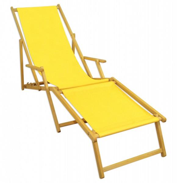 gartenliege sonnenliege gelb liegestuhl fu teil sonnendach deckchair holz gartenm bel 10 302 n f. Black Bedroom Furniture Sets. Home Design Ideas