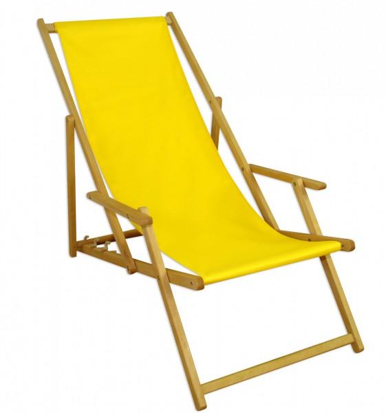 Liegestuhl gelb Fußteil Sonnendach Kissen Tisch Gartenliege Holz ...