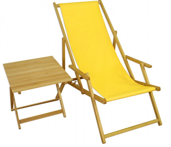 strandstuhl gelb gartenliege strandliege deckchair tisch liegestuhl holz hell klappbar 10 302 n. Black Bedroom Furniture Sets. Home Design Ideas