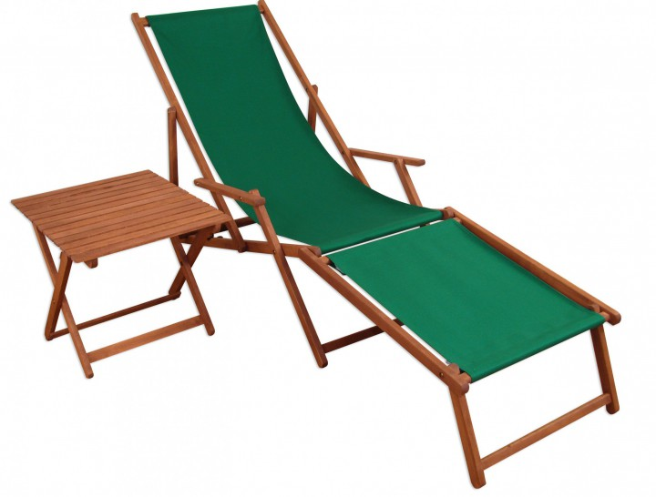 gartenliege sonnenliege gr n liegestuhl fu teil tisch deckchair holz gartenm bel 10 304 f t. Black Bedroom Furniture Sets. Home Design Ideas