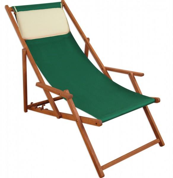 Deckchair grün Liegestuhl klappbare Sonnenliege Gartenliege Holz ...