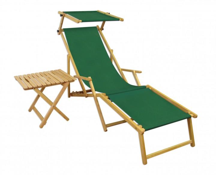 relaxliege gr n gartenliege strandliege fu teil sonnendach tisch gartenm bel holz 10 304 n f s t. Black Bedroom Furniture Sets. Home Design Ideas
